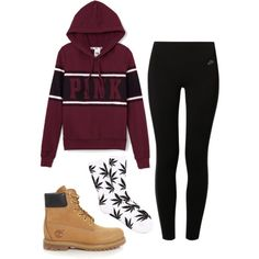 A fashion look from November 2014 featuring Victoria's Secret PINK hoodies, NIKE leggings and Timberland boots. Browse and shop related looks.