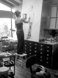 In the Studio, Julie Mayo Artist, Artist Studio Pallet Painting, Studio, Artist, Furniture, Home Decor, Decoration Home, Room Decor, Artists, Studios