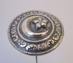 Antique Hatpin Large Silver Embossed Crescent Moon & Star