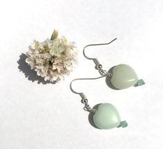 Heart earrings with amazonite and swarovski by BeadifulByJill