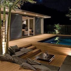 Awesome Mediterranean Deck Designs For The Summer is part of Outdoor bathtub - As a Landscape Designer, I'm often asked for tips and advice on outdoor living and garden design The single biggest […] Backyard Pool Designs, Backyard Patio, Backyard Ponds, Modern Exterior, Exterior Design, Diy Deck, Building A Deck, Design Case, Patio Design