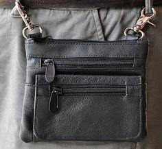 Black Genuine Leather Mens Womens Biker Motorcycle Belt Loop Clip Hip Bag Pouch   eBay