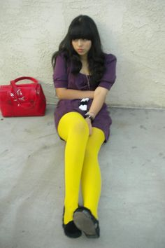 black yellow Teen stockings