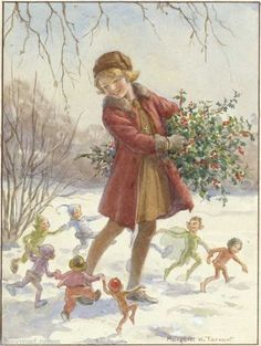 Margaret Tarrant - Snow Brownies - print Margaret Tarrant did so many beautiful Fairy prints and was obviously a very talented artist.