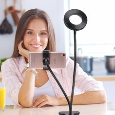 Selfie Ring LED 3 Mode Light with Cell Phone Holder Adjustable Arm for Live Stream and Makeup for iPhone Android Phone Camera Accessory Studio Lighting Setups, Clever Inventions, Ring Lamp, Otaku Room, Electric Daisy Carnival, Camera Accessories, Mobile Accessories, Cell Phone Holder, Selfie Stick