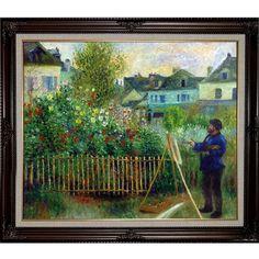 La Pastiche Pierre-Auguste Renoir 'Monet Painting in His Garden at Argenteuil, 1873' Hand-painted Framed Art