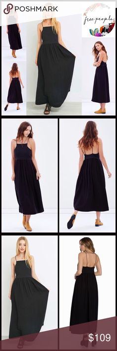 """FREE PEOPLE Dress Maxi Slip Coverup Dress 💟NEW WITH TAGS💟  RETAIL: $148   FREE PEOPLE Dress Maxi Slip Coverup Dress   * A relaxed & flowy semi pleated A-line silhouette   * Lightweight fabric   * Thin Tank straps & square neck   * Approx 56"""" long   * Pullover style   Fabric: Cotton, viscose lining Item:  Color: Black #   🚫No Trades🚫 ✅ Offers Considered*/Bundle Discounts✅  *Please use the blue 'offer' button to submit an offer. Free People Dresses Maxi"""