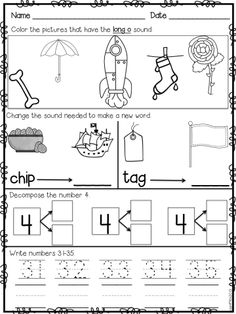 First Grade Morning Work Set 2 Teaching First Grade, First Grade Reading, First Grade Classroom, First Grade Math, Grade 1, Kindergarten Language Arts, Kindergarten Math Worksheets, School Worksheets, School Teacher