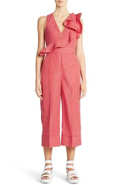 MSGM Ruffle Stripe Cotton Jumpsuit
