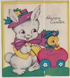 Vintage Bunny With Ducklings Happy Easter Greeting Card