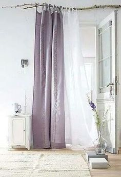 Linen curtains on branch - above window (can be closed when watching a movie and open during the day. It will dress the room (H&M have cheap voile curtains or we can buy a sort of linen fabric online) Branch Curtain Rods, Diy Curtain Rods, Linen Curtains, Hang Curtains, Curtain Hanging, Drapery, Home And Deco, Window Coverings, Window Treatments