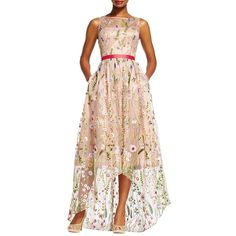 Adrianna Papell Women's Floral Embellished Tulle Hi-Lo Gown ($299) ❤ liked on Polyvore featuring dresses, gowns, nude multi, pink tulle gowns, floral evening gown, floral embroidered gown, floral embroidery dress and pink evening gowns
