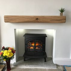 Empty Fireplace Ideas, Oak Beam Fireplace, Oak Mantle, Fireplace Shelves, Mantel Shelf, Fireplace Mantle, Fireplace Suites, Mantle Ideas, Victorian Fireplace