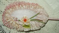 Vintage 1920's Flapper Ribbon Powder Puff Wand Pink Ombre Silk Rosette Flowers