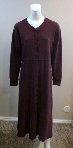 Eddie Bauer Long Thermal Dress Maroon Medium Casual Large 12 14 Modest | eBay