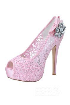 Stiletto Heel 12.7cm Heel 2.8cm Platform Lace Rhinestone Peep Toe Bridal Shoes SWS16024 #weddingshoes #weddingessentials #weddingaccessories #cocomelody