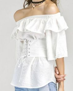 Plain white corset t shirt ruffle off the shoulder tops for teenage girls