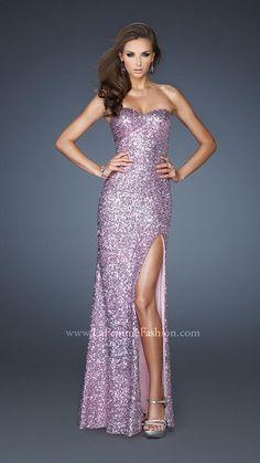 { 18840 | La Femme Fashion 2013 } La Femme Prom Dresses - Sequined Gown - Strapless - Side Slit - Loose Waves