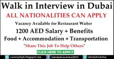 #WalkinInterviewinDubai for Restaurant Waiter.  Benefits: 1200 AED Salary + Food + Accommodation + Transportation All Nationalities can apply for the job. >>> Share This Job To Help Others <<<
