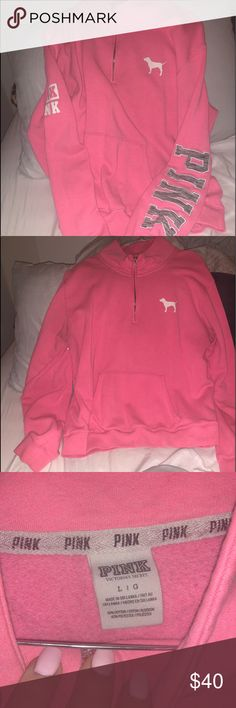 Used VS pink Zip up Used Vs pink zip up. Please see all of the pictures. I don't see any stains nor  rips just normal wear and tear. All of my clothes are purchased directly from VS. PINK Victoria's Secret Tops Sweatshirts & Hoodies