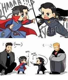Strange, Loki, Thor and Tony Baby Avengers, Marvel Avengers, Avengers Humor, Marvel Jokes, Hero Marvel, Funny Marvel Memes, Funny Comics, Baby Loki, Disney Marvel