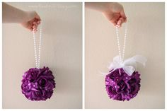 2 - sample purple rose wedding pomanders - RESERVED - wedding pomander flower hanging ball reception table topper - purple wisteria eggplant wedding color chart decoration decor
