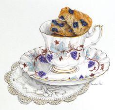 Food illustration: Buttermilk Blueberry Scones