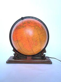 Vintage World Globe Art Deco Illuminated Glass 1949 Crams World Globe Map, Globe Art, World Globes, Map Globe, Antique Maps, Vintage Maps, Globe Crafts, Vintage Globe, Happy Colors