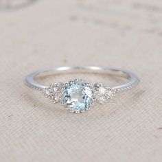 Aquamarine Cluster Ring White Gold Aquamarine Engagement Ring Diamond Dainty March Birthstone Ring Anniversary Promise Thin Multistone Rings by LoveRingsDesign on Etsy https://www.etsy.com/au/listing/497756248/aquamarine-cluster-ring-white-gold