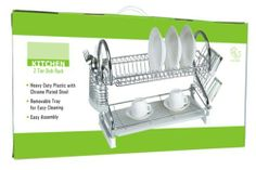 2-tier Kitchen Counter Dish Rack with Removable Tray, Chrome, 19.5 Inches by D.K.. $21.99. Heavy duty plastic with chrome plated steel. Removable tray for easy cleaning. Easy assembly. Space-saving design!. Overall dimensions:  19.5 inches x 10.5 inches x 15.5 inches. This is a smaller version of our popular 2-tier dish rack.  This 2-Tiered Dish Rack features sturdy construction and a space saving design.  Made of Chrome plated steel and heavy duty plastic to give...