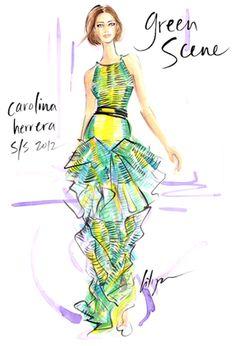 Green Scene Jennifer Lilya #FashionIllustration #CarolinaHerrera #Fashion