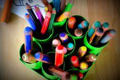 Stiftehalter aus Toilettenrollen / Pencil organizier made of toilet paper rolls / Upcycling