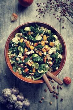 Winter salad recipe with kale, roasted pumpkin, and millet.