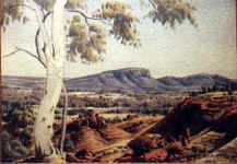 ABORIGINAL Albert Namatjira Australia Crest  Artist born on 28th July, 1902 in the Northern Territory.  In the 1930s he began painting the landscape of central Australia in watercolour. He was tutored by Tex Battarbee during the 30s.  Albert Namatjira  In Melbourne 1938, at his first exhibition, all 41 paintings on display were sold.  Namatjira died in 1959.