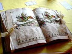 antique embroidery sample book