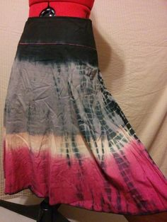 Buy it now! Tie Dye Hippie Skirt Mix Nouveau Size 2 100% Cotton Mid Length Gray Pink Black #MixNouveau #ALine