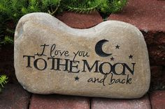 Hand Engraved Rock I Love You to the Moon and by GaleStreetStudio