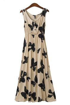 Butterfly Print Pleating Hem Maxi Dress #butterfly #maxi_dress #fashion