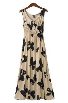 Butterfly Print Pleating Hem Maxi Dress #butterfly #maxi_dress #fashion