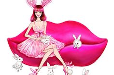Pink Lady  Watercolor Fashion illustration by sunnygu on Etsy