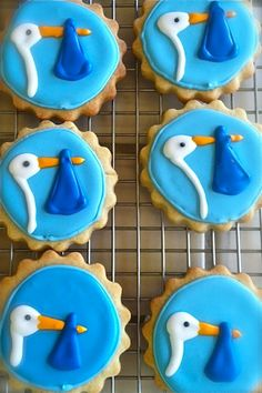 Darling Stork Cookies for Baby Shower