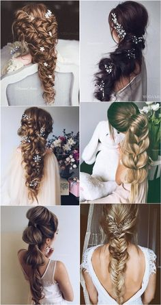 Ulyana Aster Long Braided Wedding Hairstyles ❤ See More: www.deerpearlflow Ulyana Aster Long Braided Wedding Hairstyles ❤ See More: www. Wedding Hairstyles For Long Hair, Wedding Hair And Makeup, Bride Hairstyles, Trendy Hairstyles, Everyday Hairstyles, Straight Hairstyles, Bridal Hair, Flower Hairstyles, Black Hairstyles