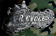 Motorcycle Parts (Engraving by Otto Carter, Abilene, TX. www.ottocarter.com)