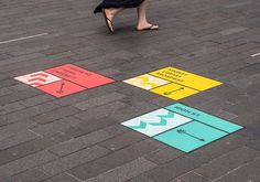 Placemaking for Stratford, Floor signage on the pavement and sidewalk for wayfinding.
