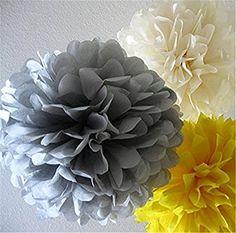 SUNBEAUTY 「6個セット」20cm25cm ペーパーフラワー組み合わせ ペーパーポンポンフラワー 手作り バースデー 誕生日 結婚式 飾り付け (HD-1)
