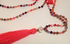 Multicoloured Bali Glass Mala Necklace-Bright by JennPetersShop