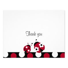 Trendy Red Ladybug Polka Dot Thank You Note Cards Personalized Invite