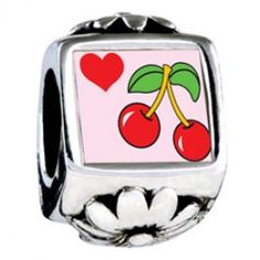 Heart Cherries Photo Flower Charms  Fit pandora,trollbeads,chamilia,biagi,soufeel and any customized bracelet/necklaces. #Jewelry #Fashion #Silver# handcraft #DIY #Accessory