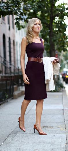 The Classy Cubicle: Bordeaux. {fashion blog, young professional women, office style inspiration, corporate work wear, ralph lauren, piperlime, ivory cream lace coat, burgundy knit sheath dress, brown stud waist belt, cognac, caramel, leather gloves, j. crew, gorjana}