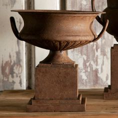 """Rusted Short Classic Urn-Rustic and WonderfulMetal Urn with Rust Aged Finish12"""" x 12"""" x 13"""""""